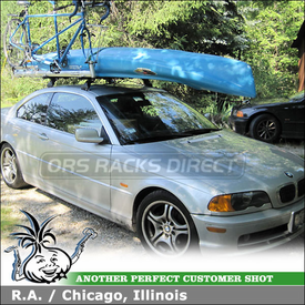 2001 BMW 328Ci Kayak Roof Rack & Tandem Bike Rack using Thule 753 BMW Rack, 503 Load Stops & RockyMounts R4