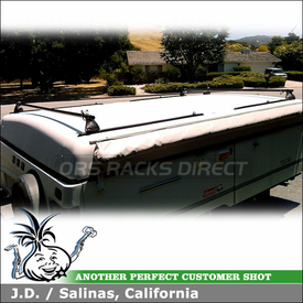 """2001 Coleman Seapine Pop Up Camper using Yakima Control Towers & LP1 Landing Pads and 54"""" Roof Tracks"""