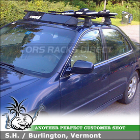 2001 Honda Accord Kayak Roof Rack using Thule 480 Traverse Foot Pack & 1567 Fit Kit, 835PRO J-Kayak Rack & 871XT Fairing