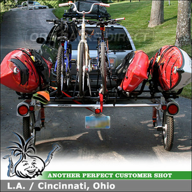 2001 Infiniti QX4 Bike Kayak Trailer using Yakima RACK and ROLL 78 Trailer, HullRaiser J-Cradles & Raptor