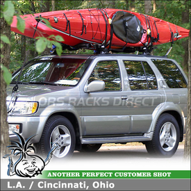 2001 Infiniti QX4 Kayak Racks for Factory Rack Cross Bars using Yakima HullRaiser Aero Kayak J-Cradles