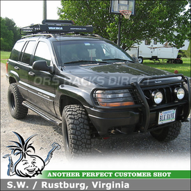 2001 Jeep Grand Cherokee Cargo Roof Basket Ski Rack System using Yakima MegaWarrior Basket & Big PowderHound Ski-Snowboard Carrier
