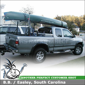 2001 Toyota Tundra Truck Rack for Canoe and Bikes with Yakima Outdoorsman 300, Q Tower Half Pack, Gunwale Brackets & Locking BedHead Bike Racks