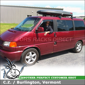 2001 VW Eurovan Roof Rack Cargo Box using Thule 400XT Aero Foot Pack, 204 Fit Kit & Yakima SkyBox LoPro