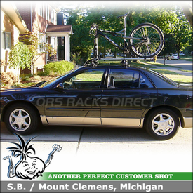 2002 Buick Regal Roof Rack Bike Rack System using Inno IN-SU Stays & K214 Fit Hooks, INA261 Fairing and RockyMounts PitchFork