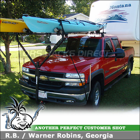 2002 Chevy Silverado HD2500 Kayak Racks with 5th Wheel Trailer using Yakima Q Towers Half Pack, DryDock & Mako-HullyRoller Kayak Racks