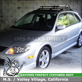 2002 Mazda Protege 5 Roof Bike Rack using Thule 518 Echelon & 532 Ride-On Factory Rack Adapter Kit