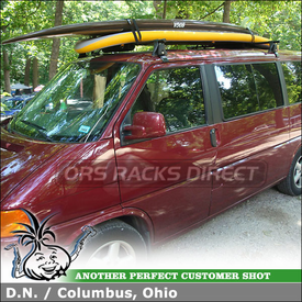 "2002 VW Eurovan Roof Rack for StandUp Paddle Boards using Yakima Q Towers (w/ Q12 Clips & 58"" Crossbars), Rack Pads and Straps"