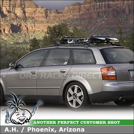 2003 Audi A4 Avant Ski Snowboard Roof Rack using Yakima RailGrab Car Rack Kit & Yakima Buttondown Aero