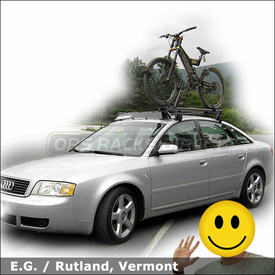 2003 Audi A6 Roof Rack for Bike with Yakima Q Tower System, Wind Faring & High Roller Bike Rack