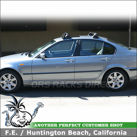 """2003 BMW 325i Roof Rack Wind Fairing System using Yakima Control Towers, #11 Landing Pads & 44"""" Noise Deflector"""