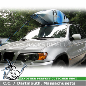 2003 BMW X5 Roof Rack and Kayak Rack with Thule 45058 Crossroad System and Thule 830 Kayak Stacker