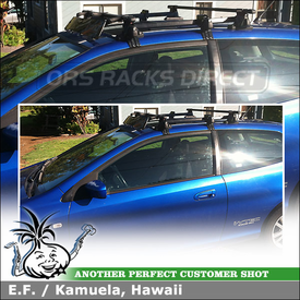 2003 Honda Civic 3-door with Car Rack and Wind Fairing for Short Roofline