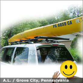 2003 Honda Pilot Kayak Rack with Thule 450 CrossRoad System, 875XT Saddles & Yakima ShowBoat Kayak Roller