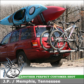 2003 Jeep Grand Cherokee Kayak Roof Rack and Hitch Bike Rack with Thule 450 Crossroad, 916XTR T2 & Yakima BowDown