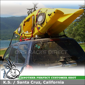 2003 Mazda Tribute Kayak Rack for Factory Rack using Malone Stax Pro Kayak Carrier