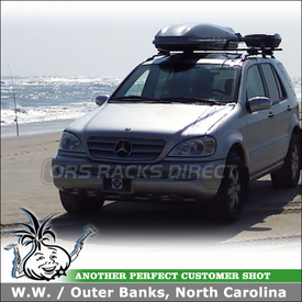 2003 Mercedes ML500 Roof Rack Cargo Box & Fishing Rods Carrier using Thule 450 Crossroad, 885 Castaway & Luggage Pod