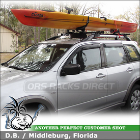 "2003 Mitsubishi Outlander Kayak Roof Rack with Yakima RailGrab Towers, Mako Saddles-HullyRoller Kayak Rack Combo & 32"" Fairing"