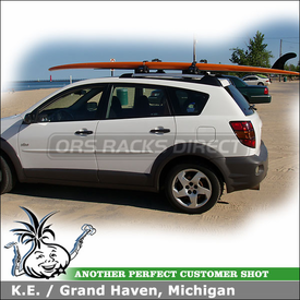 2003 Pontiac Vibe Roof Rack for SUP Stand Up Paddle Board with Inno INA444 Locker SUP Rack