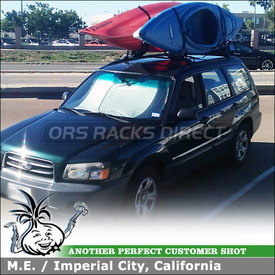 2003 Subaru Forester Kayak Racks for OEM / Factory Rack Crossbars using Yakima HullRaiser Aero J-Cradles
