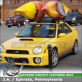 "2003 Subaru Impreza WRX Roof Rack for 2 Kayaks using Yakima Q Towers, Q78 Clips, 44"" Fairing & Thule J-Kayak Racks"
