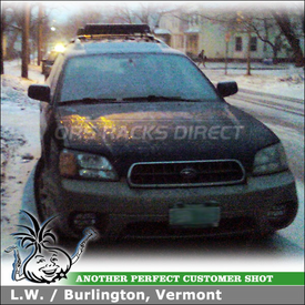 2003 Subaru Outback Ski Rack on Factory Rack Crossbars