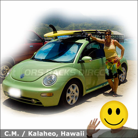 2003 Volkswagen Beetle Surfboard Rack with Thule 752 VW Beetle Car Rack System & 554XT Hang-Two Surfboard Carrier