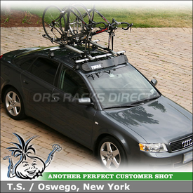 2004 Audi A4 Bike Roof Rack and Wind Fairing using Thule 400XTR Rapid Aero Car Rack (w/ 2114 Fit Kit), 518 Echelon, 593 Wheel-On & 872XT Faring