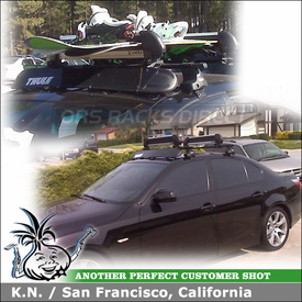 2004 BMW 545i Roof Rack Snowboard Carrier with Thule 480 Traverse & 1325 Fit Kit Clips, 872XT Fairing and Inno INA-945 Rail Slider Ski-Snowboard Rack