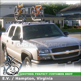 2004 Chevy Avalanche Roof Rack Bike Racks with Yakima RailGrab Kit & 2 Inno INA383 Fork Lock Bicycle Carriers