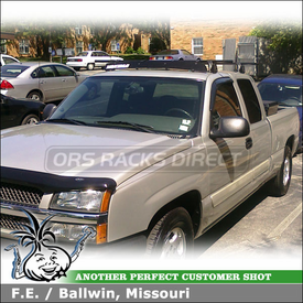 """2004 Chevy Silverado Truck Cab Roof Rack and Wind Fairing using Yakima Q Towers, Q109 Clips & 50"""" Fairing"""