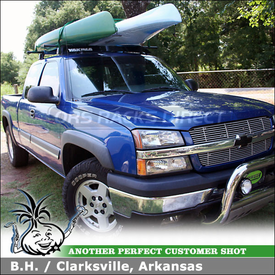 2004 Chevy Silverado Truck Cab Roof Rack using Yakima Q Towers, Q109 Clips & Wind Fairing