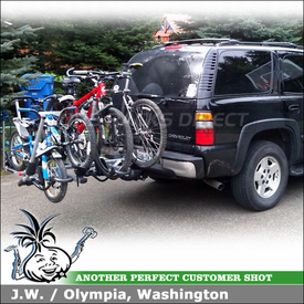 2004 Chevy Tahoe Hitch Bike Rack for 4 Bikes using Yakima HoldUp & Hold Up Plus 2 Bike Add-On