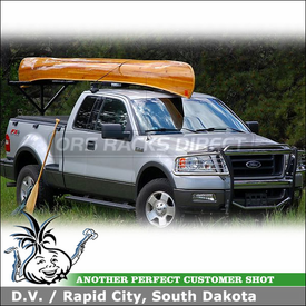 2004 Ford F-150 Super Cab Canoe Truck Rack using Thule 480 Traverse Half Pack, 1556 Traverse Fit Kit & 556BLK Canoe Pads
