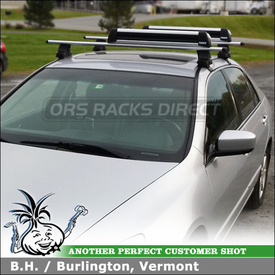 2004 Honda Accord Roof Rack Crossbars & Snowboards-Skis Carrier using Thule 480R Rapid Traverse (includes Foot Pack, 1304 Fit Kit & ARB53 AeroBlade Bars), Thule 91725 Flat Top & Flush Mount Kit