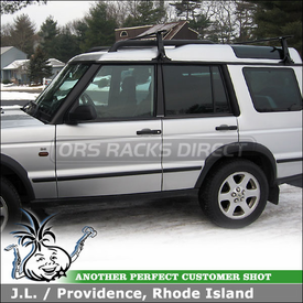 2004 Land Rover Discovery Roof Rack using Thule 953 Super High Foot for RainGutters