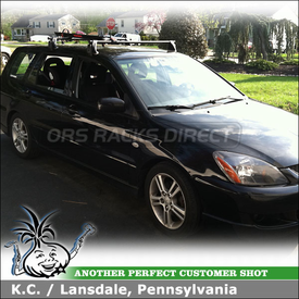 2004 Mitsubishi Lancer Sportback Bike Roof Rack using Yakima Q Towers w/ Q102 Q Clips and Viper Bike Rack