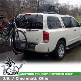 2004 Nissan Armada Hitch Bike Rack & Roof Bag using Yakima Double Down 4 and Thule 867 Tahoe