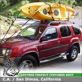 2004 Nissan XTerra Factory Rack Mount Upright Kayak Rack using Yakima BigStack Kayak Stacker & Foam Blocks etc.