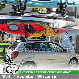 2004 Pontiac Vibe Roof Rack Cross Bars + 2 Kayak Holders using Thule 45050 CrossRoad System & Yakima BowDown Kayak Racks