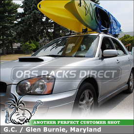 2004 Subaru Impreza WRX Wagon Factory Side Rails Roof Rack Kayaks Holder using Thule 450R Foot Pack, ARB43 AeroBlade Load Bars, 830 Kayak Stacker