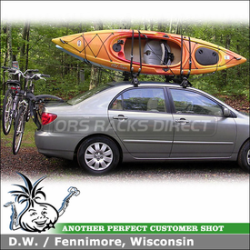2004 Toyota Corolla Kayak Roof Rack & Trunk Bike Rack using Yakima Q Towers, Q99 & Q31 Clips, HullRaiser & Saris Bones