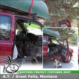 "2004 Toyota Tacoma Cab Roof Rack for Canoe using Yakima Q Towers Half Pack, Q16 Clips & 48"" Cross Bar"