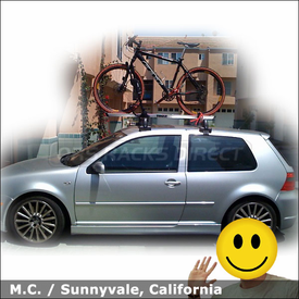 2004 VW Golf R32 Bike Rack with Thule 594XT Side Arm Mounted to Votex Roof Rack