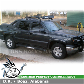 2005 Chevy Avalanche Cab Roof Rack Cargo Basket using Yakima Q Towers, Q109 Clips & MegaWarrior