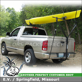 2005 Dodge Ram 1500 Kayak Truck Rack using Yakima Q Towers Half Pack, Q118 Clips, DryDock T-Bar Hitch Rack & Mako Saddles-HullyRoller Kayak Rack Set