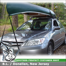 2005 Honda Civic Roof Rack for Canoe with Yakima Q Towers, Q112 Clips and Gunwale Brackets