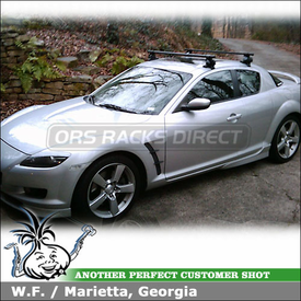 "2005 Mazda RX8 Roof Rack using Inno IN-SU Stays, K136 Fit Hooks & B117 46"" Crossbars"