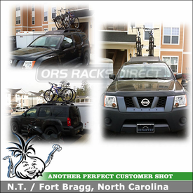 2005 Nissan XTerra Factory Roof Rack Bike Racks using Yakima HighRoller & Universal Mighty Mounts