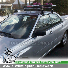 2005 Subaru Impreza RS 2.5 Roof Rack Ski-Snowboard Rack using Yakima Q Towers, Q78 Clips and FreshSesh